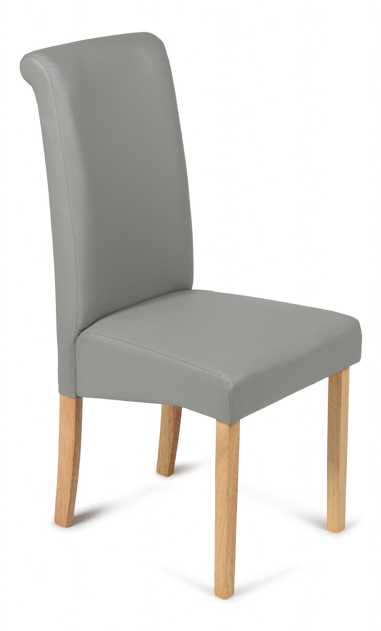 Roma Matt Grey Faux Leather Dining Chairs With Oak Legs 1